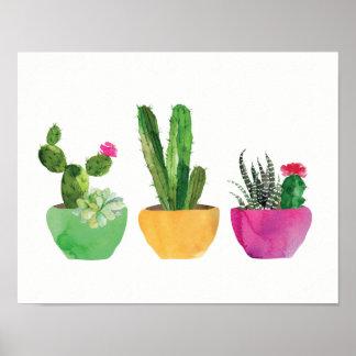 Cactus d'aquarelle et copie succulente poster