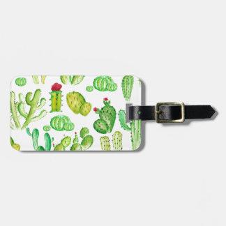 Cactus d'aquarelle étiquette à bagage