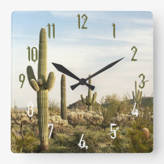 Cactus de Saguaro, Arizona, Etats-Unis Horloge Carrée