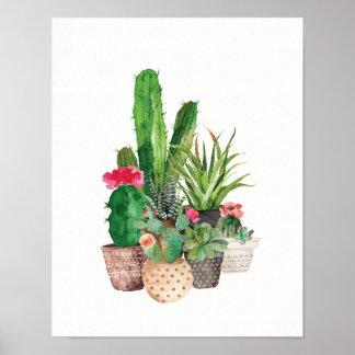 Cactus et Succulents d'aquarelle Poster