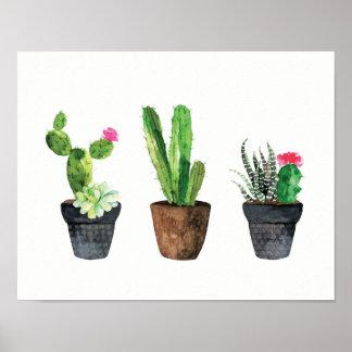 Cactus et trio succulent deux poster
