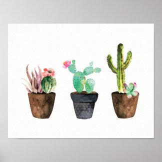 Cactus et trio succulent un poster