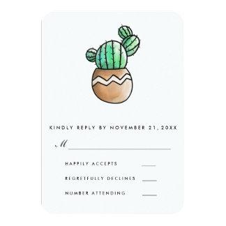 Cactus succulent RSVP l'épousant minimal rustique Carton D'invitation 8,89 Cm X 12,70 Cm