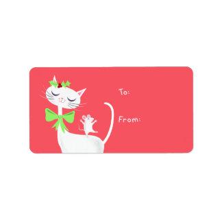 Cadeau blanc de chat et de souris étiquette d'adresse