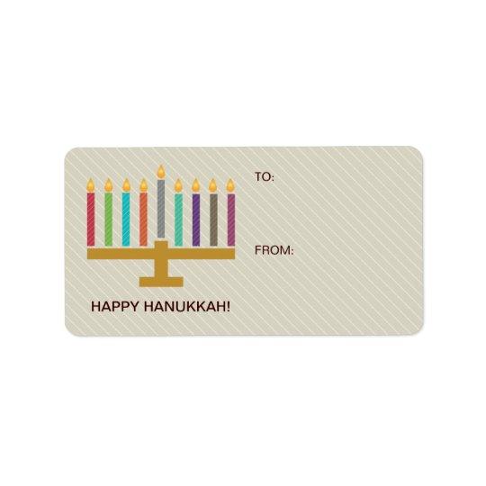 Cadeau coloré de Menorah Hanoukka Étiquette D'adresse