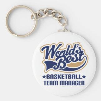 Cadeau de directeur d'équipe de basket porte-clé rond