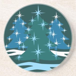 Cadeau de fête bleu d'arbre de Noël de caboteur de Dessous De Verres