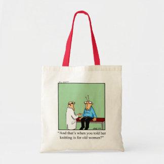 Cadeau de tricotage de sac fourre-tout à humour