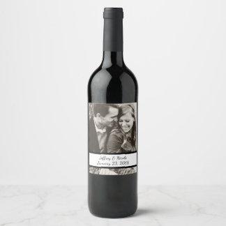 Cadeau fait sur commande de photo de mariage de étiquette pour bouteilles de vin