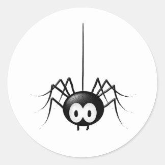 Cadeau mignon de Halloween d'araignée noire Sticker Rond