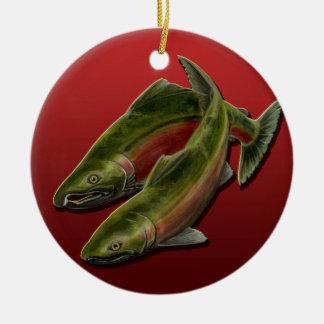 Cadeau saumoné personnalisé par ornement de pêche