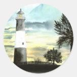 Cadeaux collectables d'art de phare d'île de TYBEE Autocollant Rond