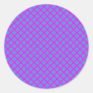 Cadeaux croisés pourpres bleu-foncé de forme de sticker rond