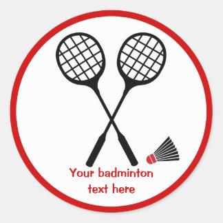 Cadeaux de badminton, raquette et coutume de sticker rond