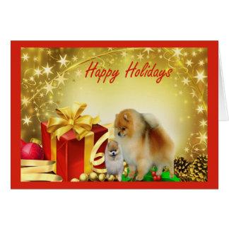 Cadeaux de carte de Noël de Pomeranian