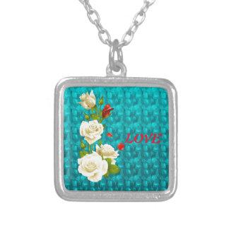 Cadeaux de motif de roses blancs de bijoux de
