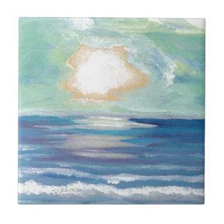 Cadeaux de Sun de surf de mer d'océan de coucher Petit Carreau Carré