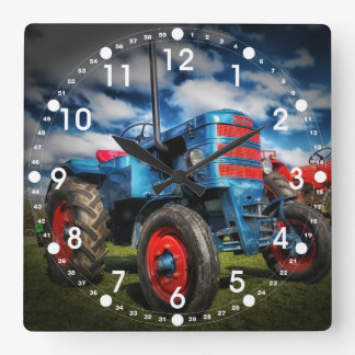 Cadeaux frais de tracteur d'antiquité de rouge ble horloge carrée