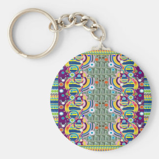 CADEAUX graphiques géométriques colorés EXOTIQUES Porte-clé Rond