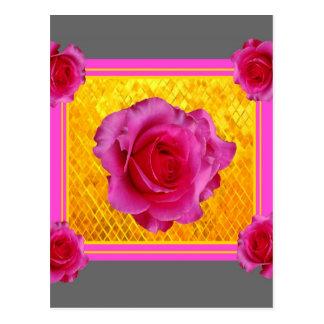 Cadeaux gris de motif d'or rose de roses cartes postales