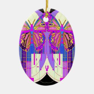 Cadeaux jumeaux de papillon de Gémeaux par Sharles Ornement Ovale En Céramique