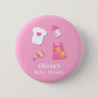 Cadeaux roses modernes élégants de douche de bébé badge rond 5 cm