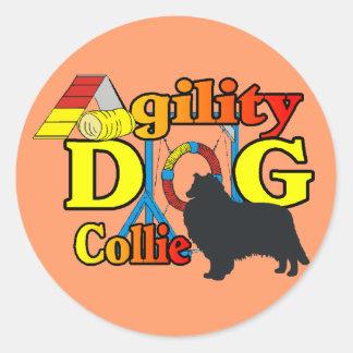 cadeaux rugueux de chemises d'agilité de colley sticker rond