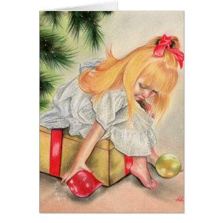 Cadeaux sous la carte de voeux de tress de Noël