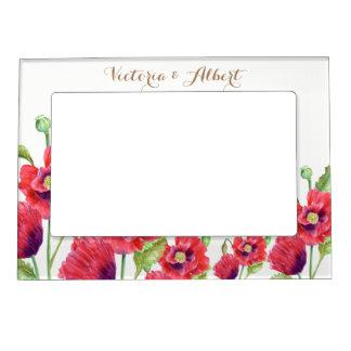 Cadre Aimanté Avec Photo Illustration florale de pavots rouges faits sur