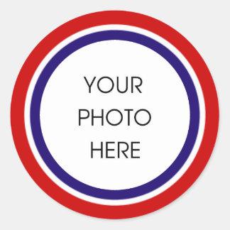 Cadre blanc et bleu rouge de photo sticker rond