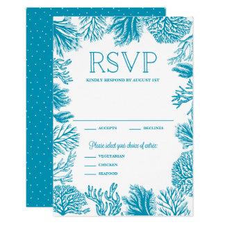 Cadre bleu lumineux RSVP l'épousant nautique de Carton D'invitation 8,89 Cm X 12,70 Cm