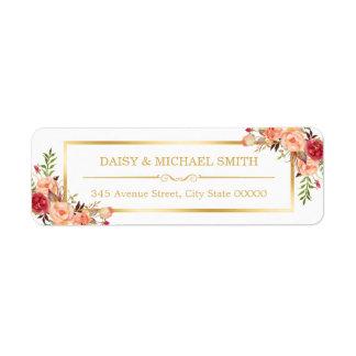 Cadre chic d'or blanc de fleurs oranges rustiques étiquettes d'adresse retour