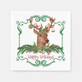Cadre de cerfs communs de Noël bonnes fêtes Serviettes En Papier