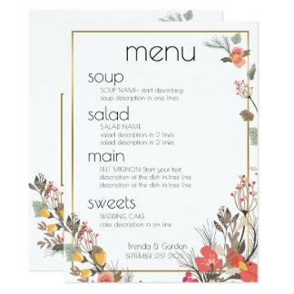 Cadre de Menu-Fleurs et d'or de mariage Carton D'invitation 16,51 Cm X 22,22 Cm
