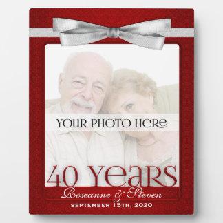 Cadre de photo d'anniversaire de mariage de rubis  plaque d'affichage