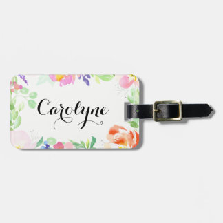 Cadre floral d'aquarelle savoureuse personnalisé étiquette à bagage