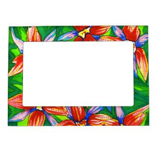 Cadre Magnétique Pour Photo Cadre tropical de photo de fleur