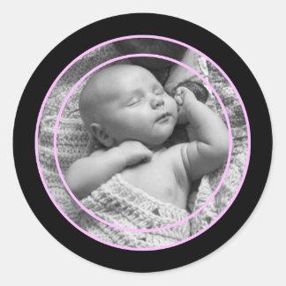 Cadre rose et noir de photo sticker rond