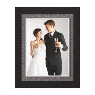 Cadre vintage élégant de photo de mariage de style toiles