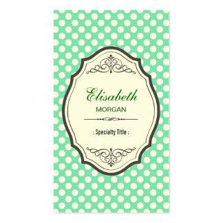 Cadre vintage élégant de pois vert en bon état mig cartes de visite professionnelles