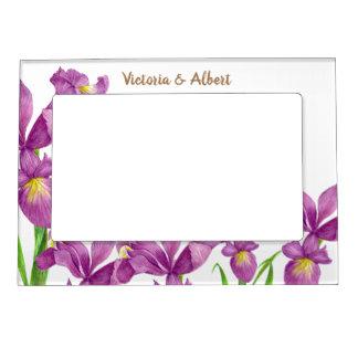 Cadres Magnétiques Pour Photo Art floral d'iris pourpre d'aquarelle