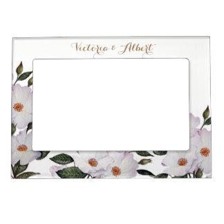 Cadres Magnétiques Pour Photo Illustration botanique de roses blancs