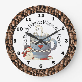 Café de Noël et horloge de vacances d'amis