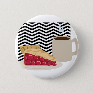 Café et tarte aux cerises badge rond 5 cm