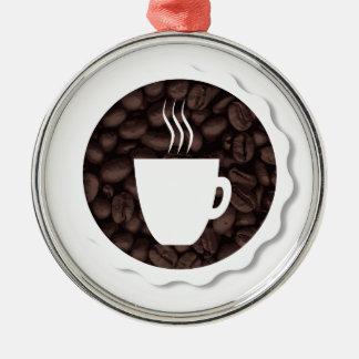 Café frais ornement rond argenté