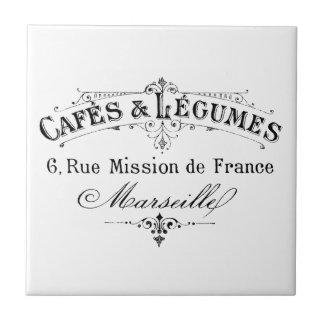 cafés français vintages et légumineuses de petit carreau carré