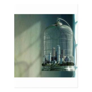 Cage à oiseaux abstraite de ville carte postale
