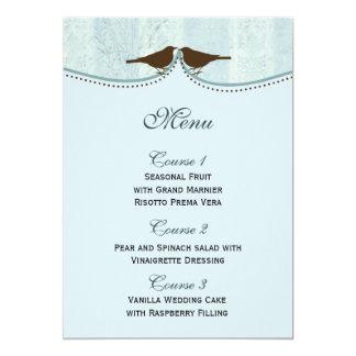 Cage à oiseaux bleue chic, cartes de menu