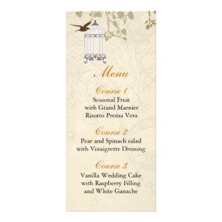 cage à oiseaux brune florale, cartes de menu