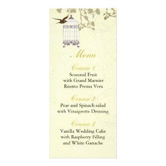 cage à oiseaux jaune florale, cartes de menu